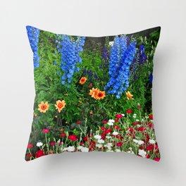 Blue Delphinium Summer Flowers Throw Pillow