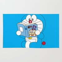 comic book Area & Throw Rugs featuring Doraemon Reading Comic Book by Timeless-Id