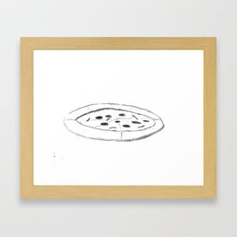 Pizza Pencil Drawing - Sketch Illustration Cartoon Black and White Comic Art Foodie Framed Art Print