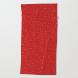 Winter Snow on Red Beach Towel