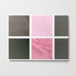 Pink Roses in Anzures 4 Abstract Rectangles 1 Metal Print