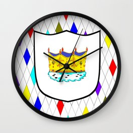A Stained Glass Window with Shield and Crown Wall Clock