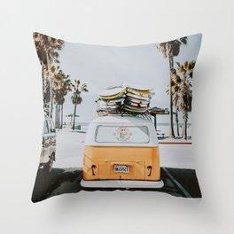 lets surf / venice beach, california Throw Pillow
