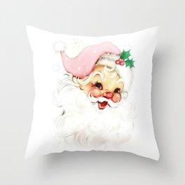 pink retro vintage santa Throw Pillow