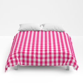Hot Neon Pink and White Gingham Check Comforters