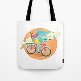 hammered hammerhead heading out to surf Tote Bag