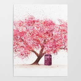Tardis Tree Art Blossom Poster