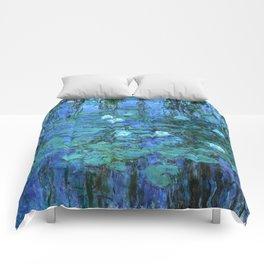 Claude Monet Water Lilies BLUE Comforters