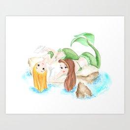 mermaid friends, watercolor painting original, best friend gifts ideas Art Print