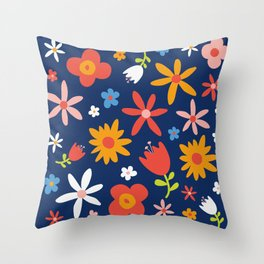 Simply  Flowers Floral Pattern on Blue Throw Pillow