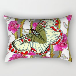 ORIENTAL STYLE BUTTERFLY & PINK ROSES GREY PATTERN DESIGN Rectangular Pillow