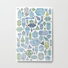 Magical Crystals - Illustration Pattern Metal Print