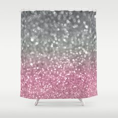 Gray and Light Pink Shower Curtain