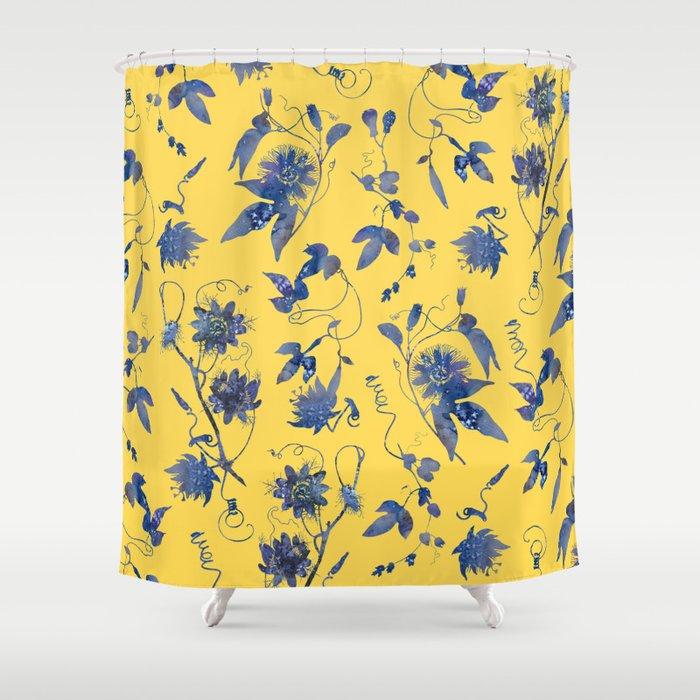 Elegant Blue Passion Flower On Mustard Yellow Shower Curtain