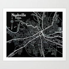 Vintage Nashville Black Art Print