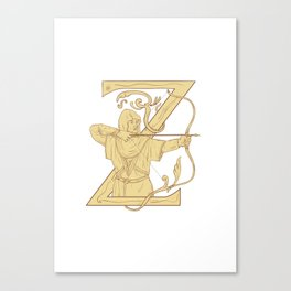 Medieval Archer Aiming Bow and Arrow Letter Z Drawing Canvas Print