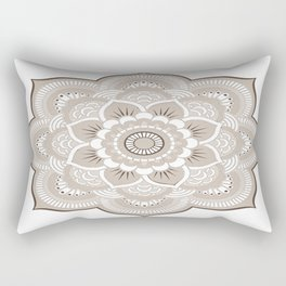 Beige & White Mandala Rectangular Pillow