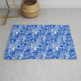 Chinese Symbols in Blue Porcelain Rug