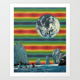 Psychedelic boat Art Print