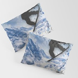 Snowboarder In Flight Pillow Sham