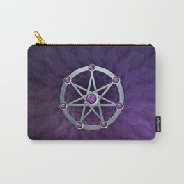 Elven star SIlver embossed with Amethyst Carry-All Pouch