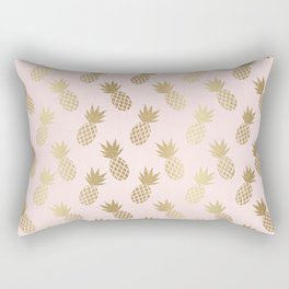 Pink & Gold Pineapples Rectangular Pillow