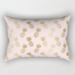Pink & Gold Pineapples Pattern Rectangular Pillow
