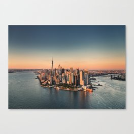 manahttan with fireworks Canvas Print