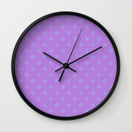 Baby Blue on Lavender Violet Snowflakes Wall Clock