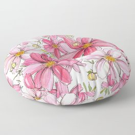 Pink Spring Flower Pattern Floor Pillow