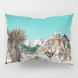 Vintage Lovers Cacti // Red Rock Canyon Mojave Nature Plants and Snow Desert in the Winter Pillow Sham