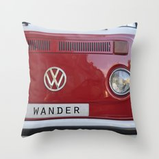 Wander wolkswagen. Summer dreams. Red Throw Pillow