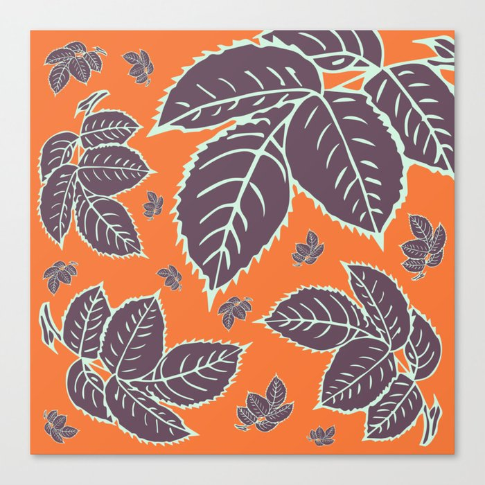 HAPPY LEAVES ON ORANGE (abstract flowers tropical) Canvas Print