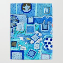 Blue Room with Blue Frames Poster
