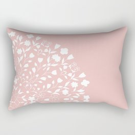 Floral Mandala On Pink Rectangular Pillow