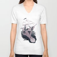 kraken V-neck T-shirts featuring Kraken by Alex Ray