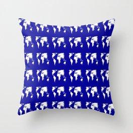 World map 3 blue Throw Pillow