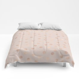 Rose gold polka dots - tropical bronze Comforters