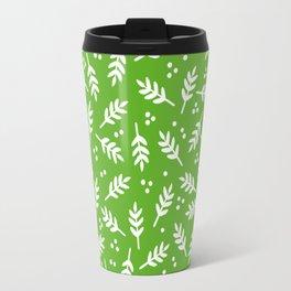 Christmas Pattern, Whimsical Leaves, Green Travel Mug