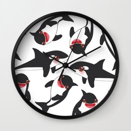 Cartoon grampus orca, killer whale, sea wolf Kawaii Wall Clock