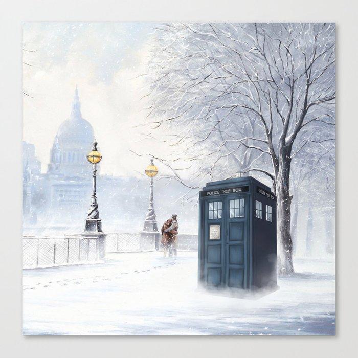 Tardis Snow Romantic Canvas Print