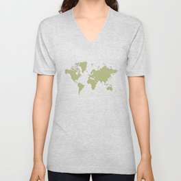 World with no Borders - sage Unisex V-Neck