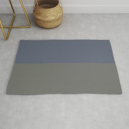 Blue Gray & Dark Pewter Gray Solid Color Horizontal Stripe Minimal Graphic Design Jolie Legacy & Slate Rug