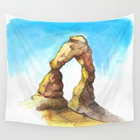 utah Wall Tapestries featuring Utah Arch Watercolor and Ink by SageTribe Art