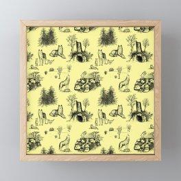 Eurasian Wolf Toile Pattern (Yellow and Black) Framed Mini Art Print