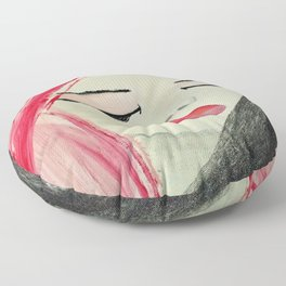 Shy Girl. Abstract Pink Girl. Pink Lips. Pink Hair. Jodilynpaintings. Eyelashes. Gift for All Girls. Floor Pillow