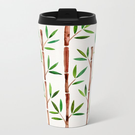 Bamboo Stems – Green Leaves Metal Travel Mug