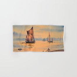 Barges On The River Thames Greenwich London Hand & Bath Towel