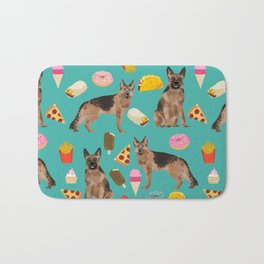 German Shepherd junk food pizza donuts ice cream burrito funny dog art pet portrait Bath Mat