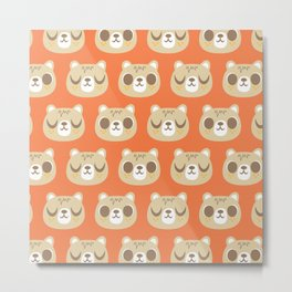 Cute Bear Pattern / Repeat Print / Orange Metal Print